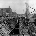 Construction of the Rochester Subway circa 1922. (Staff photo)