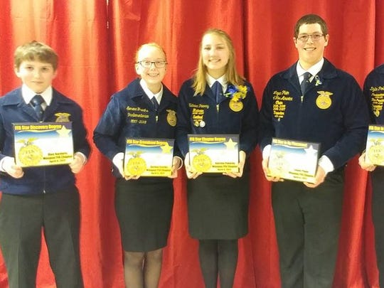 Recognized at the Waupun FFA Banquet with the Star Awards were, from left: Dion Kardaris, Star Discovery; Serena Freriks, Star Greenhand; Katrina Pokorny, Star Chapter; Logan Pluim, Star in Ag Placement; and Dylon Pokorny, Star in Agribusiness.
