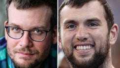 (From left)) John Green and Andrew Luck.