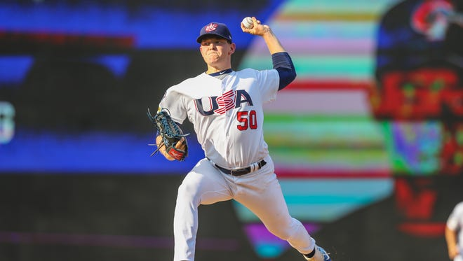 Wapahani grad Zack Thompson pitches for the Team USA College National Team this summer.