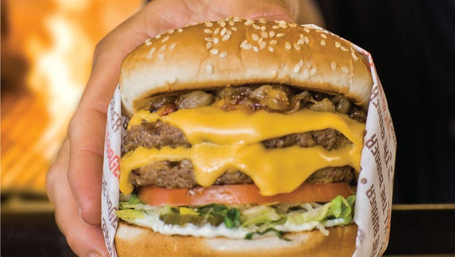 A Double Charburger at Habit Burger Grill, like the restaurant's other burgers, is cooked over flame.