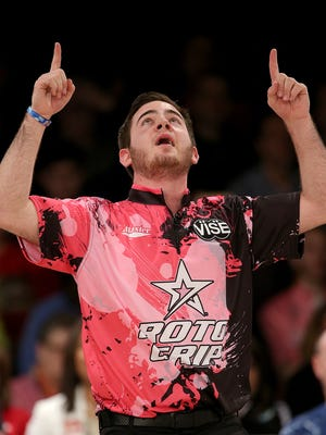 Anthony Simonsen reacts to rolling a strike and defeating Dan MacLelland to win the USBC Masters finals, a major event on the Professional Bowlers Association Tour, Sunday, Feb 14, 2016, afternoon at Woodland Bowl.