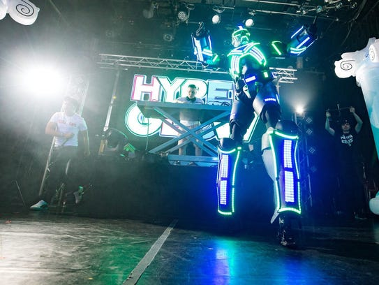 Pike Creek-based Ultra LED Man parties on stage at