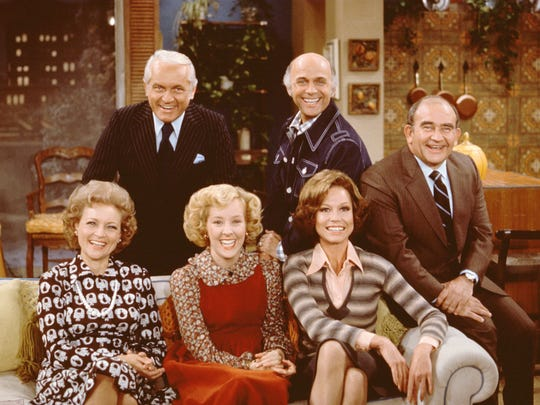 """The Mary Tyler Moore Show"" cast included from left, Betty White as Sue Ann Nivens, Ted Knight as Ted Baxter, Georgia Engel as Georgette Franklin Baxter, Gavin McLeod as Murray Slaughter, Mary Tyler Moore as Mary Richards and Ed Asner as Lou Grant."