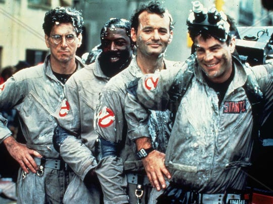"""Harold Ramis, left, Ernie Hudson, Bill Murray and Dan Aykroyd are the original """"Ghostbusters"""" (1984). The film may feature in season two of the Netflix hit show """"Stranger Things,"""" which is set in 1984, the same year the original """"Ghostbusters"""" was released."""