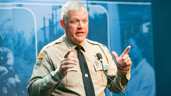 Frank Milstead talks about freeway shootings at Arizona DPS headquarters in Phoenix on Tuesday, Sept. 8, 2015.