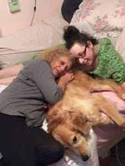 Marni and her mother, Robyn, and dog, Trouble.