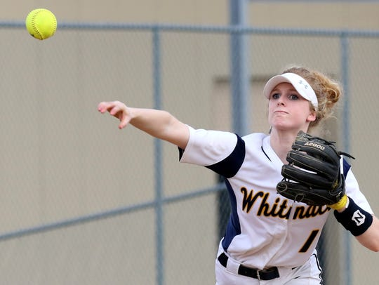 Whitnall's Abby Cunningham fires to first during the