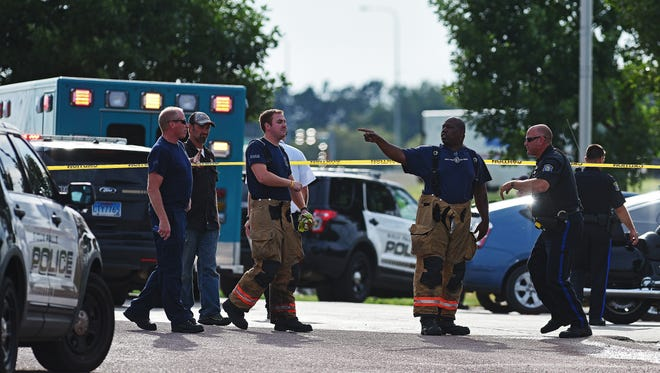 Emergency personnel respond to a fatal motorcycle accident in the parking lot of Vern Eide Motoplex Thursday, July 28, 2016, in Sioux Falls.