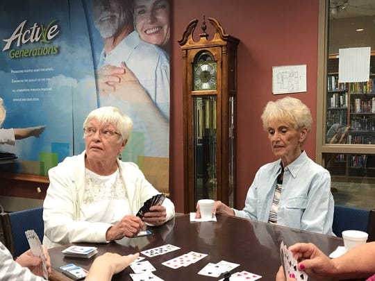 Gayle Lohnes and JoAnn Johnson played bridge Friday at Active Generations.