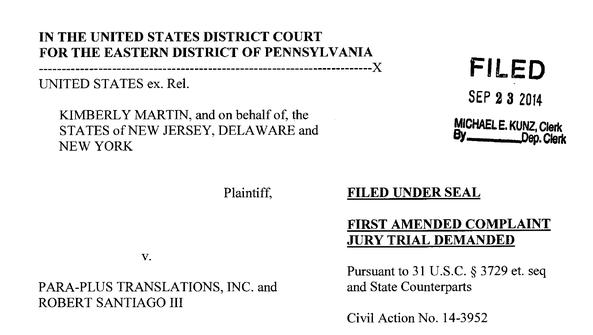 A New Jersey-based translation company settled a lawsuit