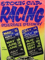 A poster advertises races at the old Silverdale Speedway.