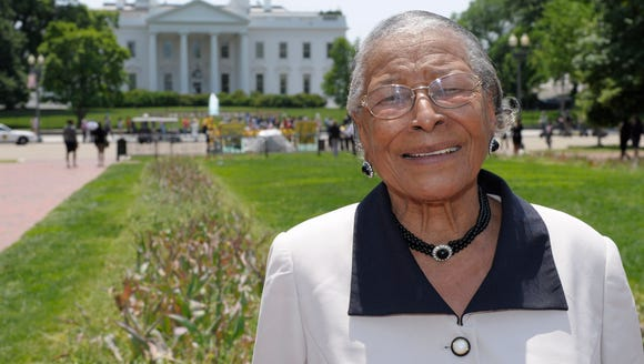 Recy Taylor stands in Lafayette Park after touring