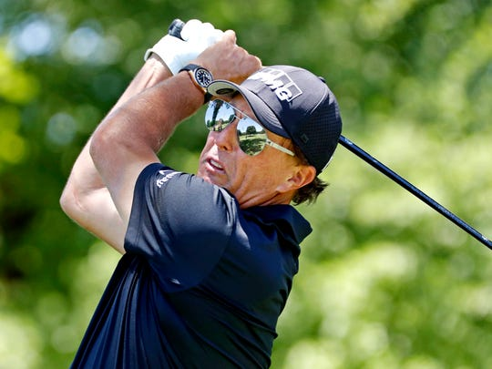 Phil Mickelson plays his shot from the third tee during the second round of the 2020 Charles Schwab Challenge at Colonial Country Club. Photo by Raymond Carlin III/USA TODAY Sports