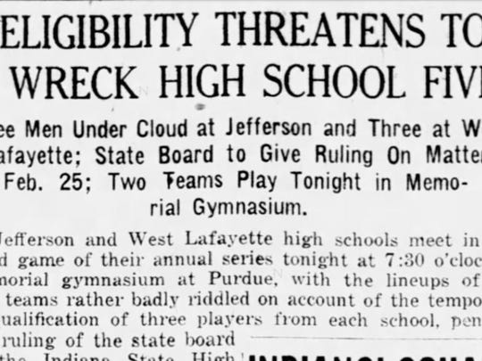 The headline from the Feb. 15, 1922, Journal & Courier told about the plight of the 1921-22 Lafayette Jeff basketball team.