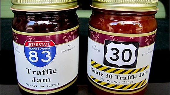 "Two choices of ""traffic jam"" - I-83 or Route 30 - are for sale at Brown's Orchards and Farm Market."