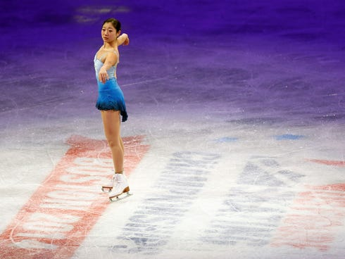 Mirai Nagasu skates during the skating spectacular exhibition event in the U.S. Figure Skating Championships at TD Garden on Sunday.