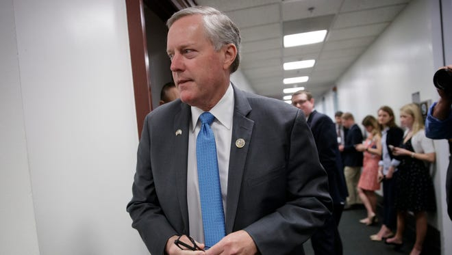 House Freedom Caucus Chairman Mark Meadows, R-N.C., is pictured on March 28, 2017, on Capitol Hill.