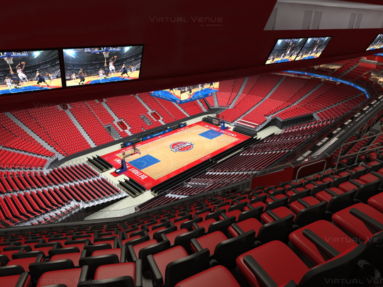 "A rendering of Little Caesars Arena during Detroit Pistons game days from the top of the upper bowl, indicating the ""gondola"" seating will restrict the view of the jumbotron and other parts of the arena."