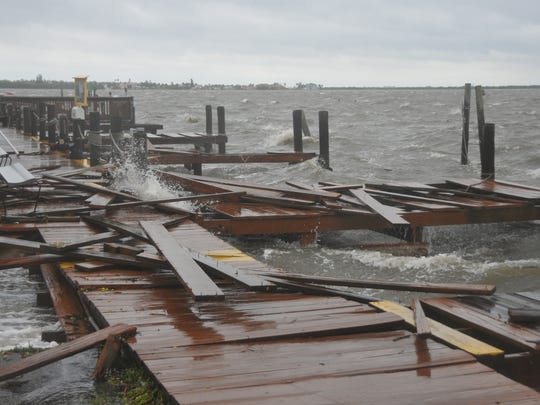 Dock torn up at the Sunset Waterfront Bar and Grill.