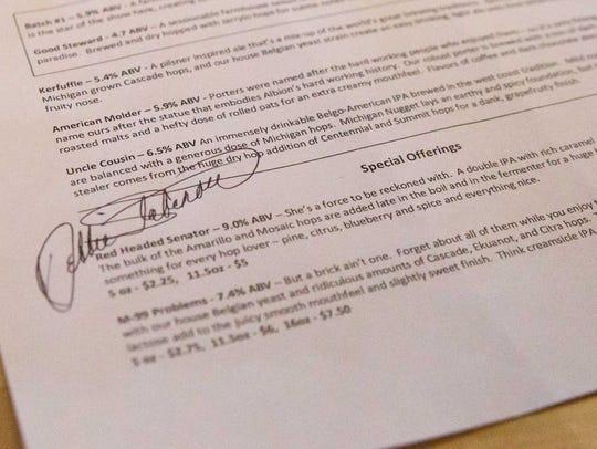 U.S. Sen. Debbie Stabenow autographed an Albion Malleable