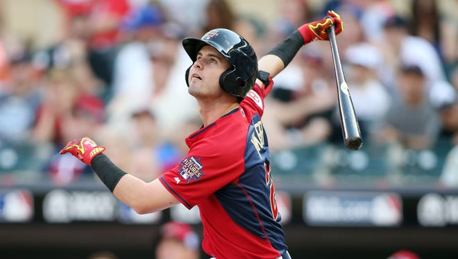 USA outfielder Jesse Winker flies out during the All Star Futures Game at Target Field.