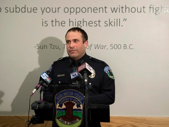 Burlington Police Chief Brandon del Pozo at a news conference in Burlington on Tuesday, March 22, 201