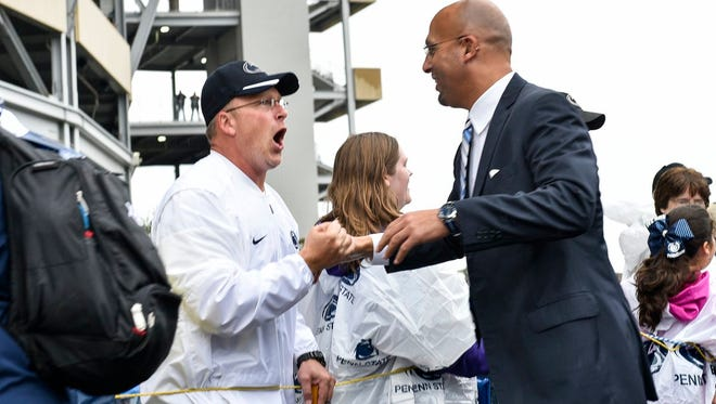 Penn State coach James Franklin greets fans at Beaver Stadium on Saturday before the game against Maryland.