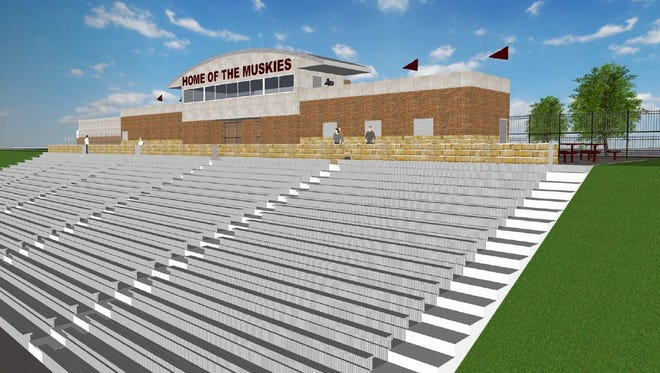 An artist's rendering of the proposed athletic facilty at John Glenn High School.