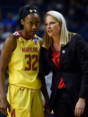 Maryland head coach Brenda Frese, right, instructs Shatori Walker-Kimbrough during the second half of a regional semifinal game against Oregon in the NCAA women's college basketball tournament, Saturday, March 25, 2017, in Bridgeport, Conn. (AP Photo/Jessica Hill)