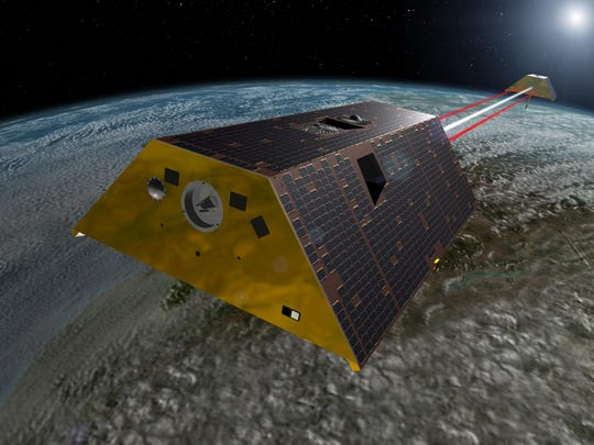 GRACE-FO Spacecraft (Artist's Rendering). This artist's rendering shows the twin spacecraft of the Gravity Recovery and Climate Experiment Follow-On (GRACE-FO) mission.