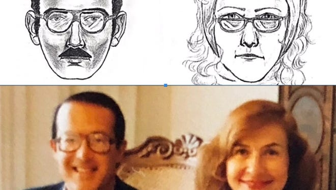 Top, the composite sketch released by law enforcement after the painting was stolen in 1985. Bottom: Jerry and Rita Alter on Thanksgiving Day in 1985 in Tucson.
