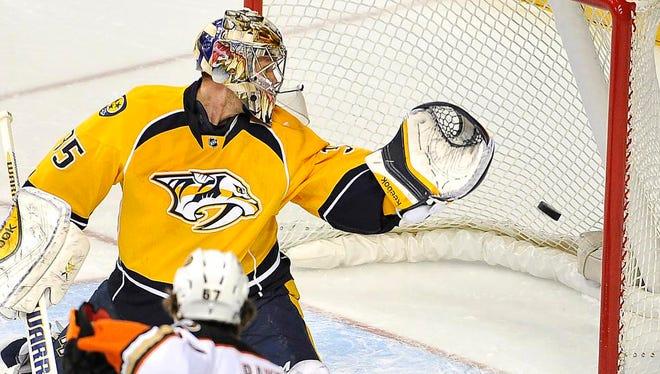 Predators goalie Pekka Rinne allows a second goal against the Ducks.