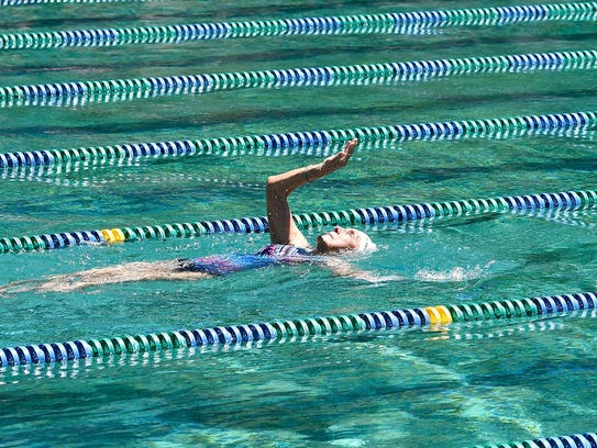Stasia Kowalski, 92, completed the 100-meter backstroke,