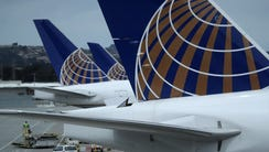 United Airlines planes sit on the tarmac at San Francisco