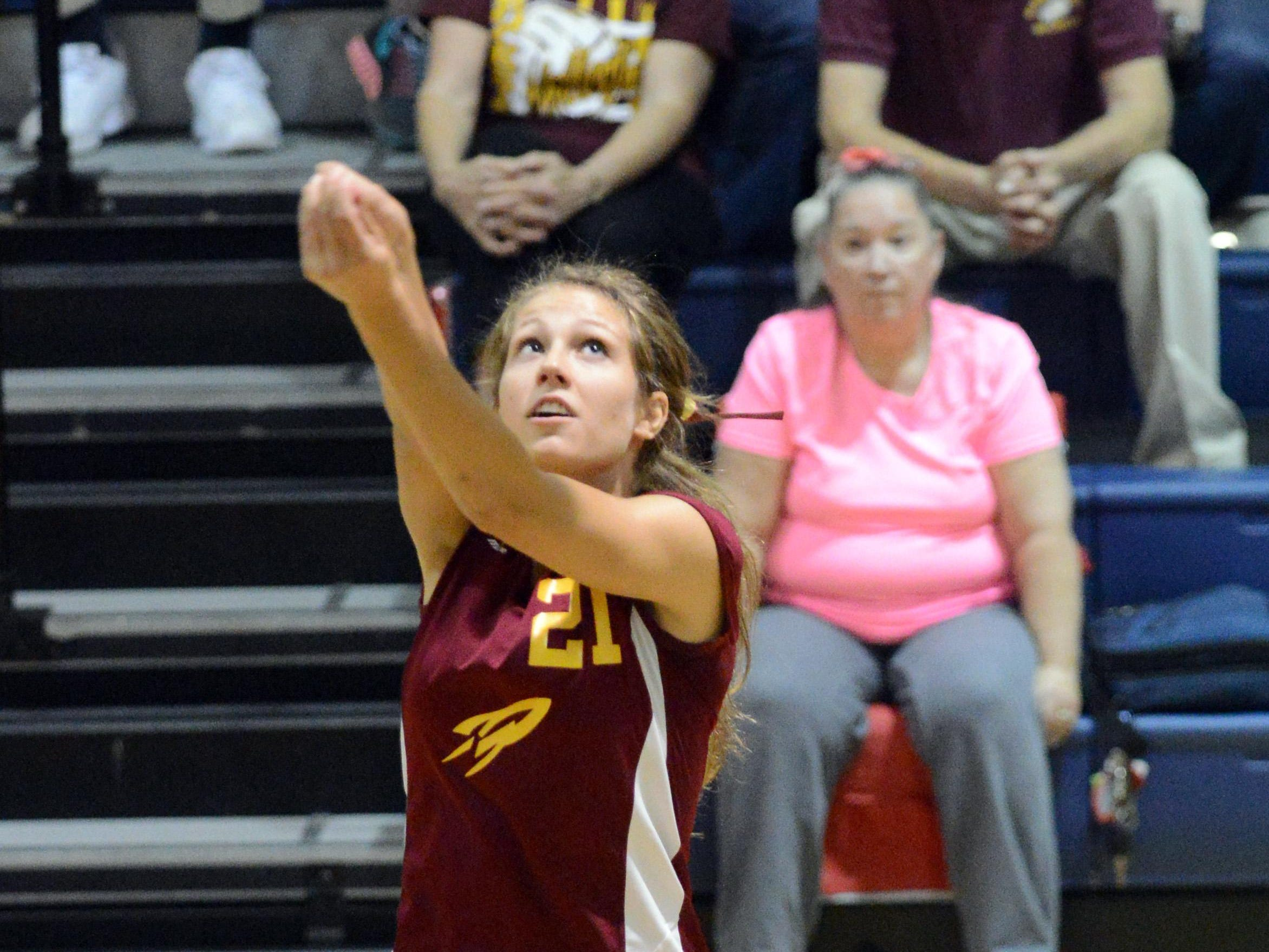 Berne Union's Lauren Shepherd bumps the ball during the Rockets' five-game win over Fairfield Christian on Thursday in Lancaster.