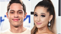 Pete Davidson, left, and Ariana Grande are reportedly