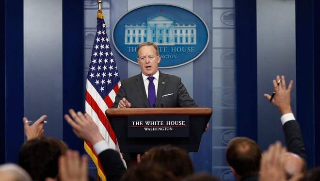 White House press secretary Sean Spicer speaks during the daily news briefing at the White House, in Washington, Tuesday, Feb. 7, 2017. Spicer discussed President Donald Trump's travel ban and other topics.