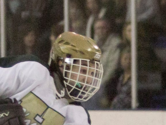 Nicholas Stanko drives in the Highlanders' fifth goal of the night in the game against Clarkston.
