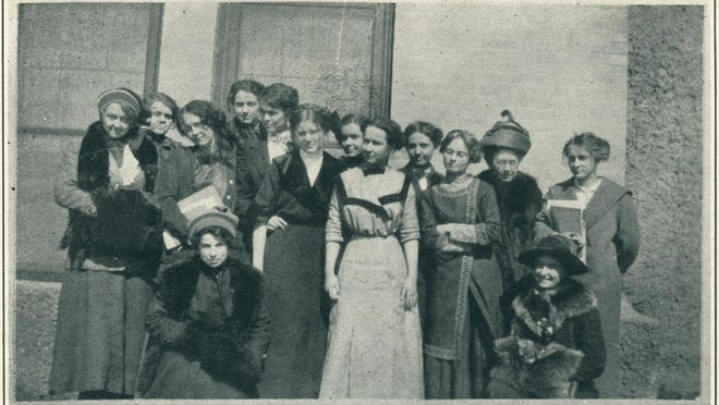 The Equal Suffrage League on the campus of WT in 1912.