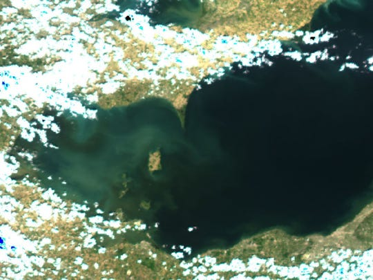 A satellite photo taken in June shows the plume of sediment from the Maumee River has decreased, as has the sediment in Lake Erie's western basin, according to NOAA.