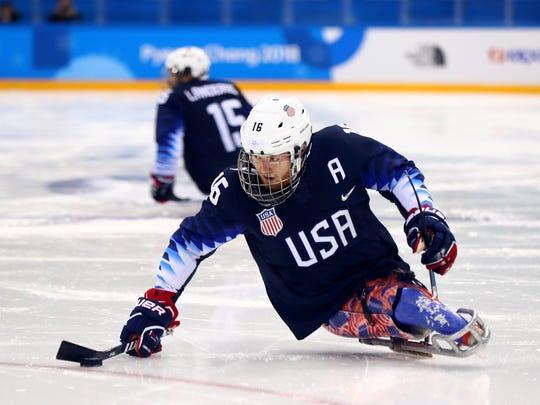 Declan Farmer skates against Japan during the Pyeongchang