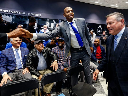 "Anfernee ""Penny"" Hardaway (middle) greets form Tiger players before being introduced as the University of Memphis' new head basketball coach at the Laurie-Walton Family Basketball Center Tuesday morning. Hardaway, who a standout player at the U of M from 91-93, will take over for recently fired head coach Tubby Smith."
