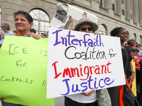 Hundreds protest Immigration and Customs Enforcement on Thursday afternoon.June 21, 2018