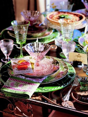 This table, right, mixes old china and Depression glass, all in pinks and greens.