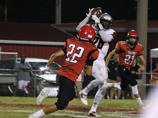 Adamsville's Curtis Lake catches a pass against Lexington