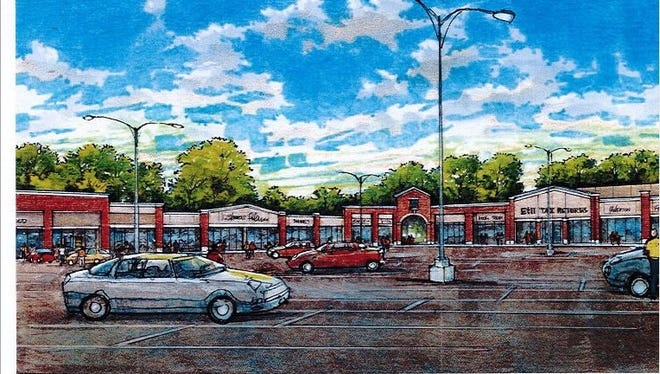 Rendering shows how a renovated Southgate Shopping Center would look.