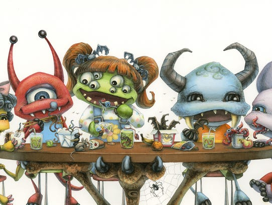 """""""Lunchtime at the Horace Arachnid Academy,"""" watercolor"""