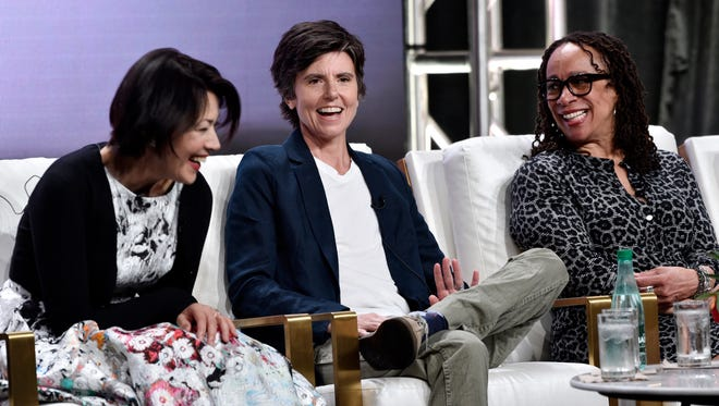 Comedian Tig Notaro, center, was joined by fellow 'Finding Your Roots' participants Ann Curry, left, and S. Epatha Merkerson, right, during a PBS 'Finding Your Roots' panel Tuesday at the Television Critics Association summer press tour.