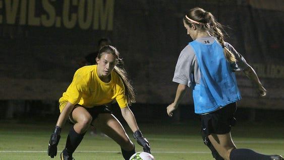 Freshman goalkeeper Lexi Bounds of Chandler will make her first ASU start tonight at Hawaii.